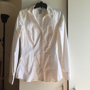 H&M White Button Up Collar Dress Shirt Size 2